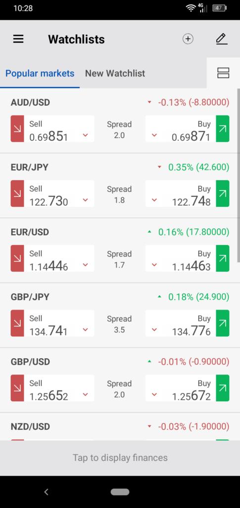 Forex.com Mobile App Watchlists